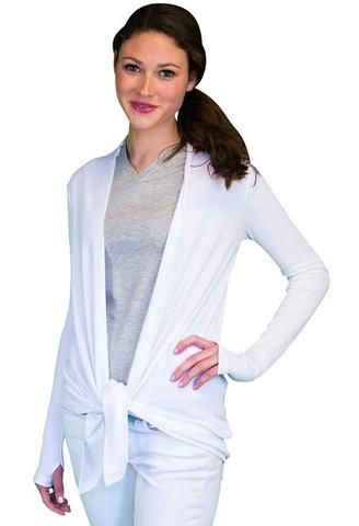 The UV Cardigan's fine ribbed fabric gives the cardigan a rich texture in addition to providing UPF 50 protection against the sun. It will go as well with a sundress as it will with your casual leggings and tee. The extended sleeves, with thumb holes to hold them in place, provide hand sun protection. This versatile UV cardigan may be belted or tied for freer movement. Made with soft rayon and a touch of spandex, this piece is a joy to wear, yielding with your every movement.