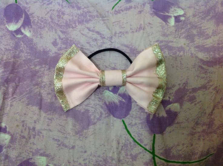 Diy hair bow - pink fabric with gold glitter a(nail polish)