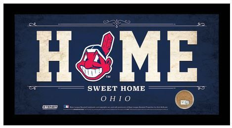 Cleveland Indians Home Sweet Home Sign w/Game Used Dirt - the Stadium Shoppe