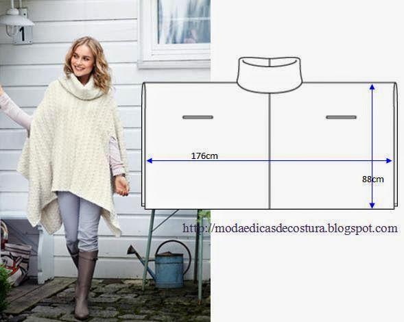 Patrón poncho de lana Moda e Dicas de Costura: PONCHO COM GOLA FÁCIL DE FAZER
