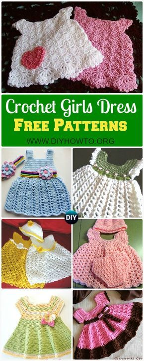 A Collection of Crochet Girls Dress Free Patterns: Crochet Spring Dress & Summer Dress for Girls, Babies via @diyhowto