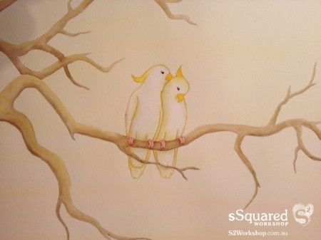 Details of Jenny and Jason's cockatoo love birds on their #fingerprinttree