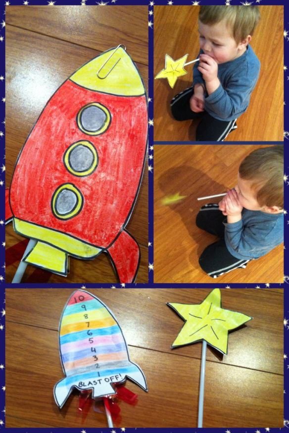 Straw Rocket Launcher - for a space theme or practice counting down from 10 to blastoff!