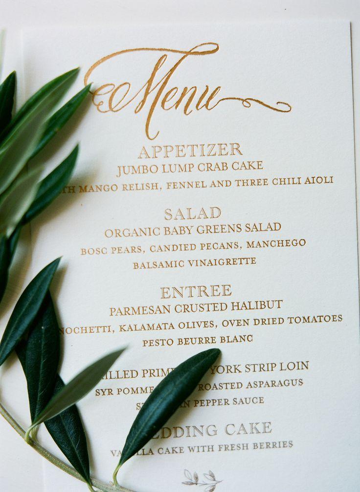 pretty gold elegant wedding menu   Photography: Diana McGregor - www.dianamcgregor.com/