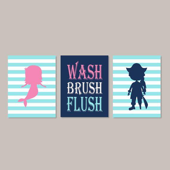 Kids Bathroom Art Mermaid Pirate Bathroom Kids Nautical Bathroom Decor Wash  Brush Flush Wall Art Bathroom Rules Set Of 3 Prints Or Canvas By ...