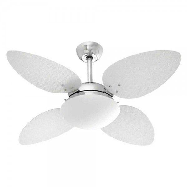 Ventilador Petalo Palmae, para 2 lâmpadas,  Medidas: 1,05x0,45m,  Material: Canopla aluminio, pás MDF,  Cor: Branco, Marca: Volare
