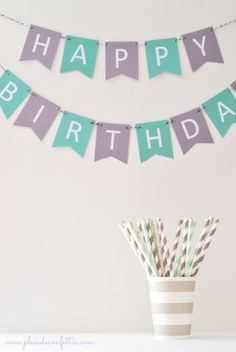 guirlande imprimable Happy Birthday