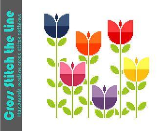 Retro tulips strung on vines. Modern cross stitch pattern.