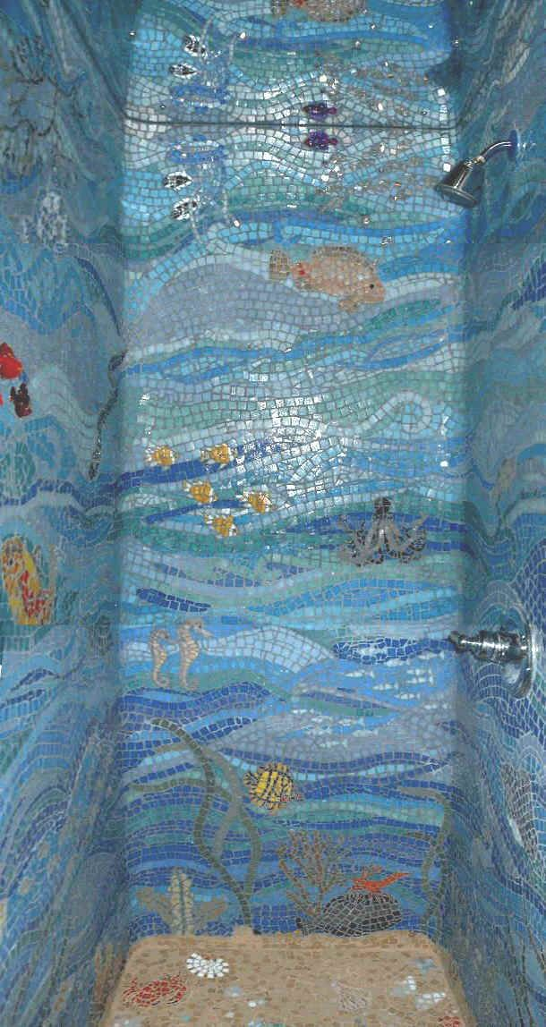 DIT (did-it-themselves) ocean shower mosaic. Photo from scrapbookscrapbook.com.