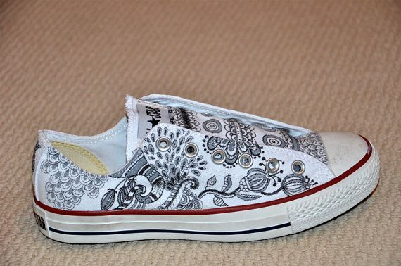 Paisley/Floral designs on white Converse All Stars