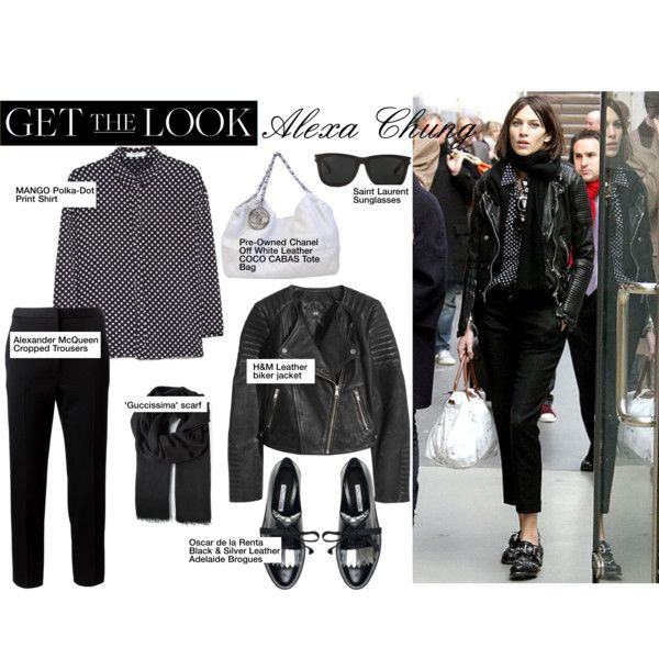 Get The Look by redchally on Polyvore featuring MANGO, H&M, Alexander McQueen, Oscar de la Renta, Chanel, Gucci, Yves Saint Laurent, GetTheLook, blackandwhite and CelebrityStyle
