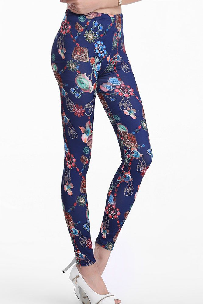 Blue Flowers and Jewelry Print Leggings