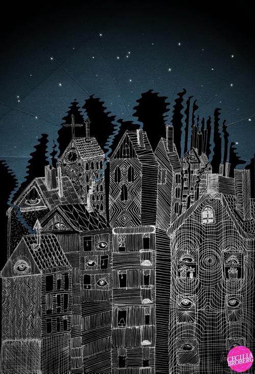 Houses by night   © Cecilia Broberg 2013 www.ceciliabroberg.com