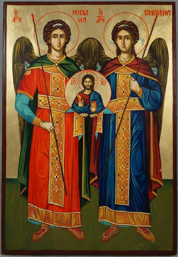 Synaxis Of The Holy Archangels (Saints Michael and Gabriel) hand-painted Byzantine icon About our icons BlessedMart offers hand-painted religious icons that follow the Russian, Greek, Byzantine and Roman Catholic traditions. We partner with some of the most experienced iconographers in the country. Artists with more than 20 years of experience in modern iconography. Each and every icon