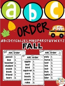 ABC Order - ABC Order fall themed worksheets - This fall resource is perfect to practice alphabetical order.