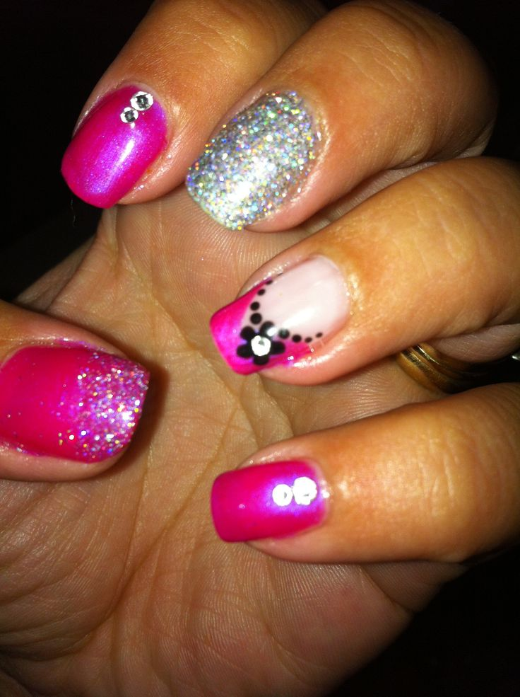 Nail art with Swarovski crystals  and glitter