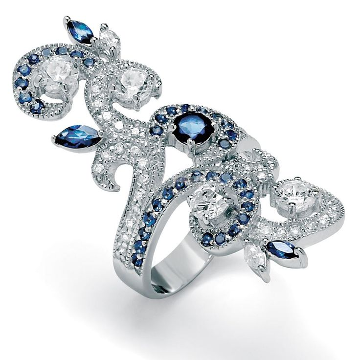 1.68 TCW Round Cubic Zirconia and Blue Crystal Swirl Ring in Silvertone   Plus Size Rings   fullbeauty