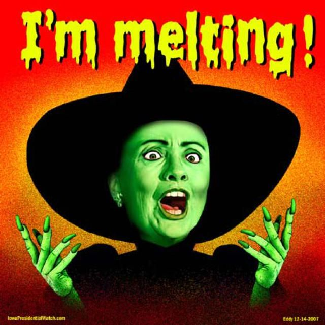 A doctored photo depicting Hillary Clinton as the melting Wicked Witch of the West.