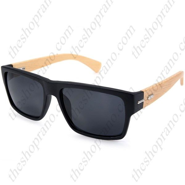 Γυαλιά ηλίου κοκκάλινα με ξύλινους βραχίονες και γκρι φακό UV400