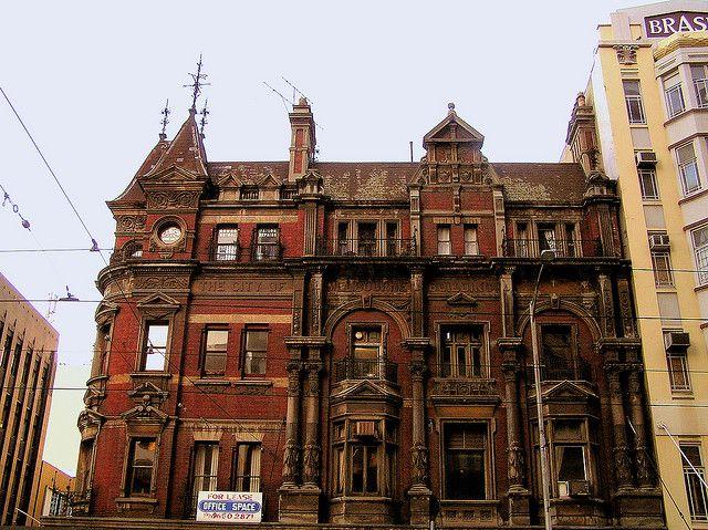 The neglected former City of Melbourne Building Society building, 112-118 Elizabeth Street, Melbourne. Built 1888.