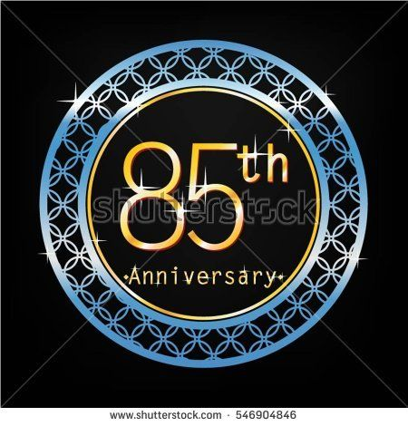 black background and blue circle 85th anniversary for business and various event