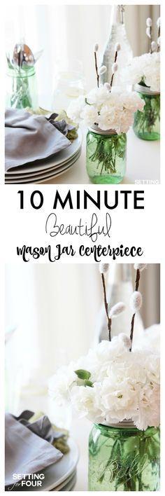 Easy DIY Mason Jar Centerpieces! 10 Minute DIY Decor Idea   Perfect For  Weddings, Part 39