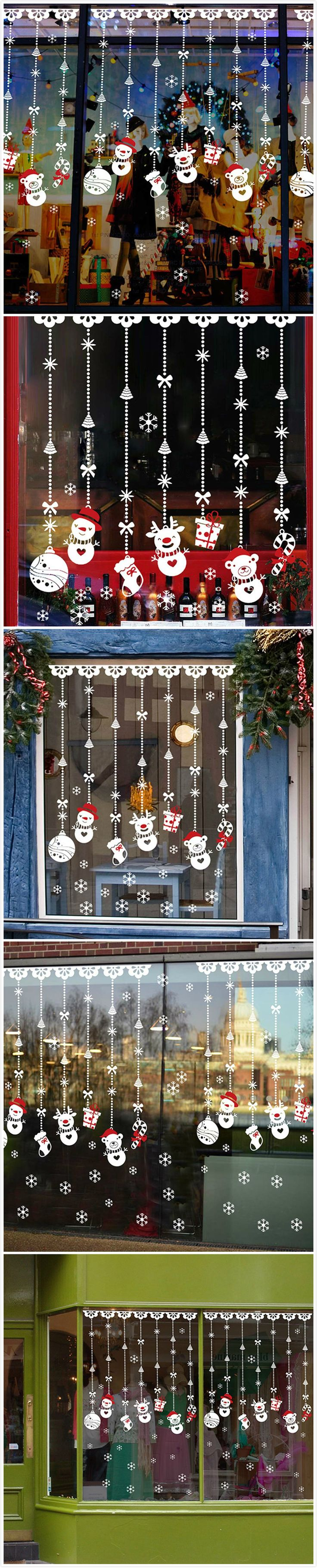 Car sticker design shop - Easy And Cute Christmas Decoration Idea Removable Window Stickers Including Snowman Socking Gift