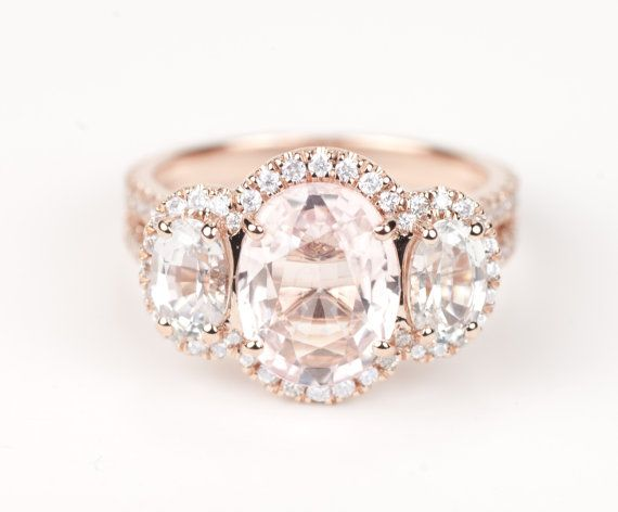 Certified Peach Pink Champagne Sapphire White Sapphire & Diamond Three Stone Halo Engagement Ring 14K Rose Gold