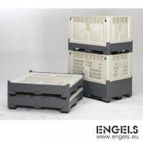 Palletbox, opvouwbaar, 3 sleden, 1200x1000x800 mm, 668ltr, beige/zwart