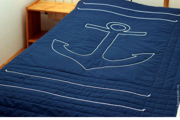 """Детская ручной работы. Ярмарка Мастеров - ручная работа Покрывало """"Морское-3"""" темно-синее. Handmade."""