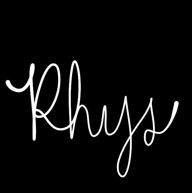 Baby boy's name Rhys. When paired with sound-alikes Reece, Reese, etc., this one is actually much more common on the playground than you'd think.   ||    ||   Hand-drawn name art by Meg at pinterest.com/meggiemaye.