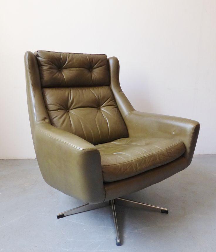 1960s Danish Green Leather Eran Swivel Chair Furniture