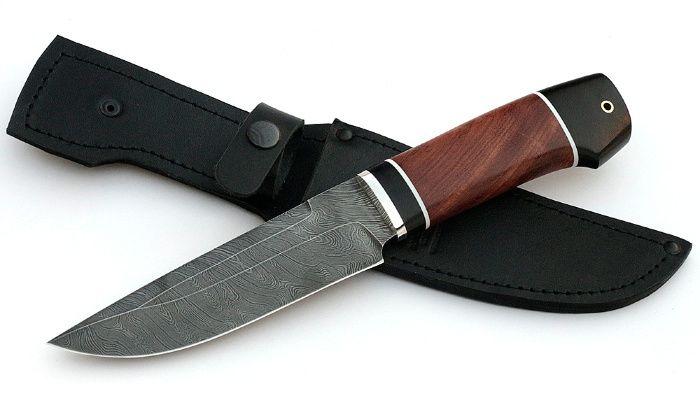 Нож Аллигатор сталь дамаск, рукоять бубинга-черный граб