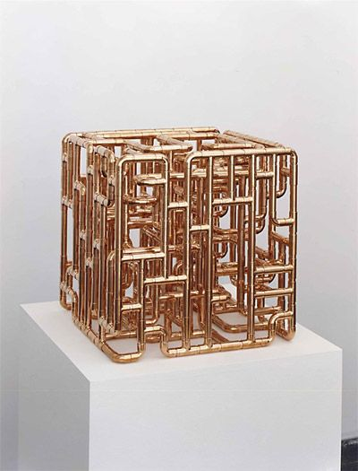 COPPER - INNOVATIONS 2015 COLOR OF THE YEAR   Cube sculpture from copper pipe fittings