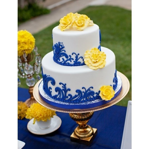 blue wedding cake images blue and yellow wedding cake found on polyvore cakes 12015