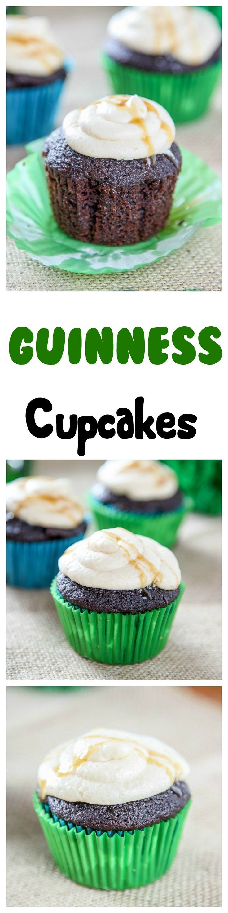 Guinness Cupcakes: Rich chocolate cupcakes topped with boozy buttercream and a decadent caramel drizzle.