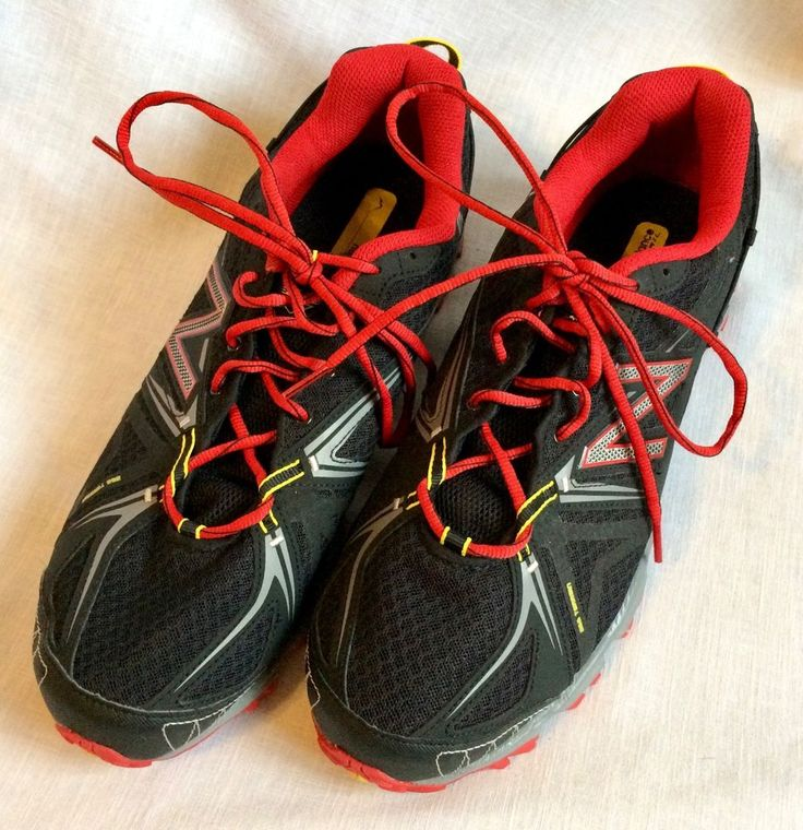 New Balance Trail Running Shoes Sneakers Men's Size 13 Red Black All Terrain #NewBalance #AthleticSneakers