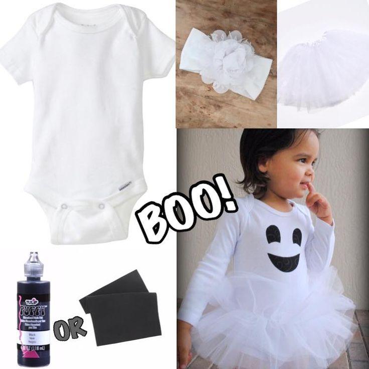 #diy #ghost #halloween #costume #headband #tutu #boo #felt #onesie #crafty