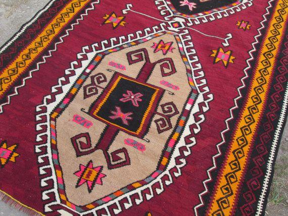Vintage Kilim Rug Home Decor Rug Turkish Kilim Rug by OLDVINSHOP