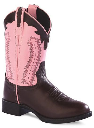 Girls Pink and Chocolate Leather Cowboy Boots