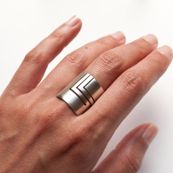 'Lines' zilveren ring