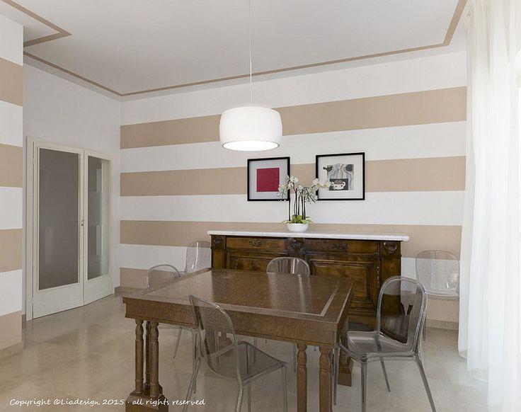 Abbinare divano alle pareti - Pareti bianche e divano a righe