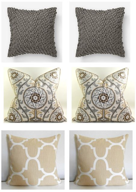 Clean and Calm~Gray and tan living room- the top and bottom pillows match my new pallet! ~ With optimal health often comes clarity of thought. Click now to visit my blog for your free fitness solutions!