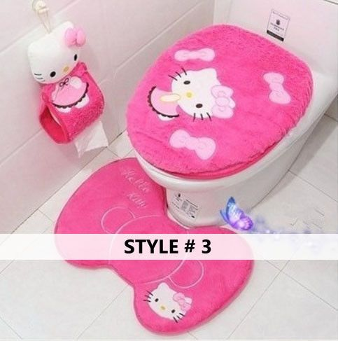 Hello Kitty Bathroom Set of 4: 1.) Toilet Mat 2.) Toilet Seat Cover - Top 3.) Toilet Seat Cover - Bottom 4.) Toilet Paper Roll, Cover Material: Plush Size: Tissue Holders: 12.5cm * 32cm Toilet Cover: