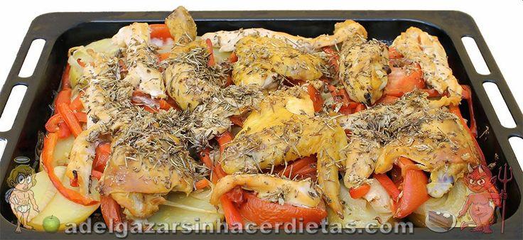 Receta saludable de Pollo con verduras al horno bajo en