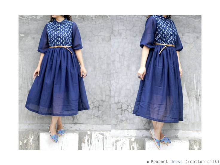 the 'Blue moon' collection (peasant dress) #dress #blue #cotton #streetstyle #vintage #ethnic #grey #fusion #fashion #ethereal #indigo #checks #silk #prints https://www.facebook.com/itrbykhyati