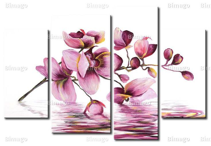 Orchidée au-dessus d'un miroir d'eau - tableau contemporain, tableaux d'orchidées - Bimago
