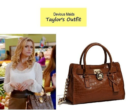 "On the blog: Taylor's (Brianna Brown) croc embossed brown satchel handbag | Devious Maids - ""Wiping Away the Past"" (Ep. 403) #tvfashion #fashion #accessories"