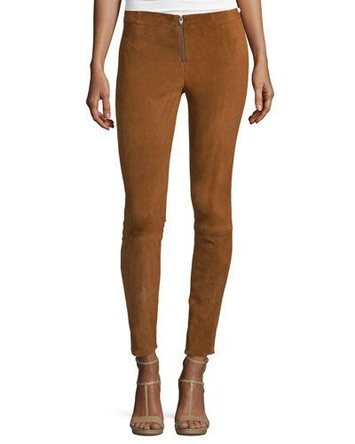 Alice+Olivia+Front+Zip+Suede+Leggings+Tan+|+Pants+and+Clothing