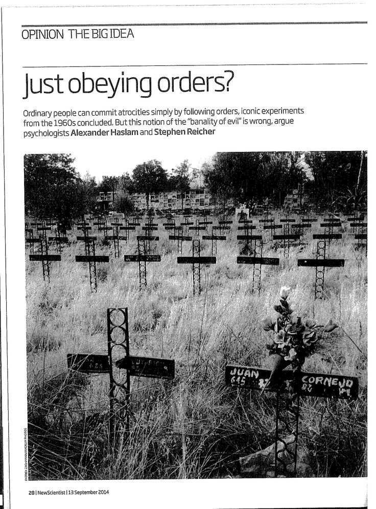 Just obeying orders page 1 New Scientist, 13 September 2014